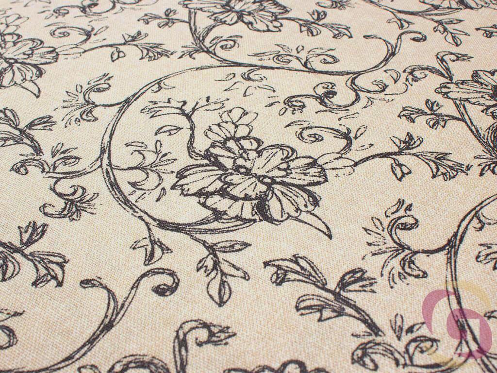 Dekoratív pamutszövet - Fekete kúszóvirágok